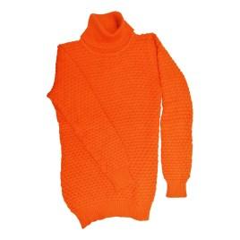 Chompa de cuello alto para niñas, color naranja (9-16 años)