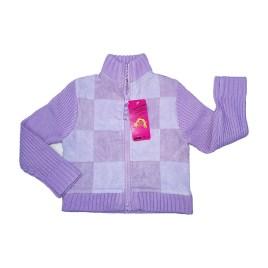 Cardigan con cierre para niñas, color lila a cuadros (3-8 años)