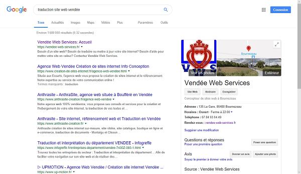 Votre fiche sur une recherche Google
