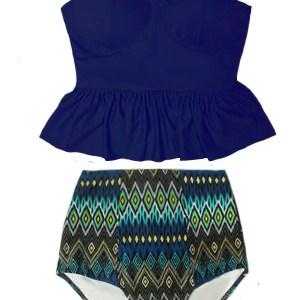929b39d815c1e Navy Blue Long Peplum Tankini Top and Tribute High Waisted Waist Bottom  Handmade Swimsuit Bikini set Swimwear Swim Swimming suit dress Beachwear  Bathing ...