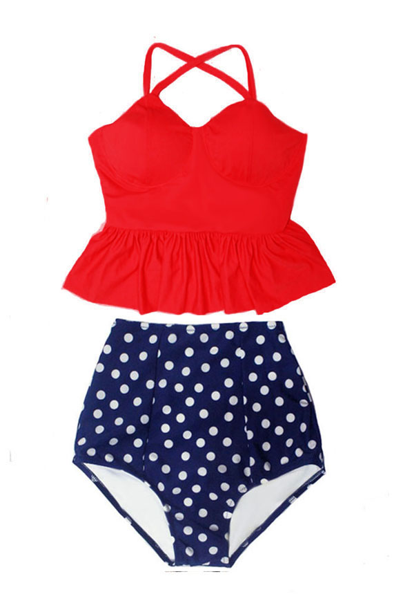 Red Polka Dot 2pc Set High Waist Bikini Suit Swimwear Swimsuit Beach Sizes S,M,L
