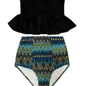 47b657e6112b6 Black Strapless Long Peplum Tankini Top and Tribute Highwaist Highwaisted  High Waisted Waist High-waisted Slimming Handmade Swimsuit Bikini set Two  piece ...