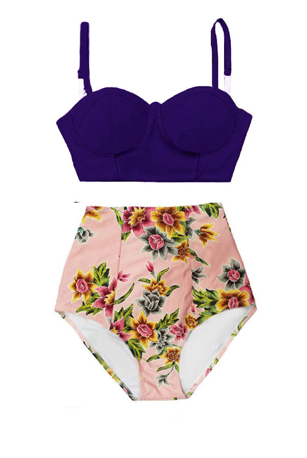 09fd1a568b7a6 Navy Blue Underwire Midkini Top and Flora Floral High Waisted Waist ...