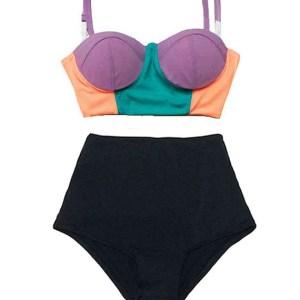 a590271aab64f ... waisted waist rise High-waist High-waisted Pin up Slimming Bottom  Handmade Swimsuit Swimwear Two piece Bikini set Swim Bathing suit wear Beachwear  S M L