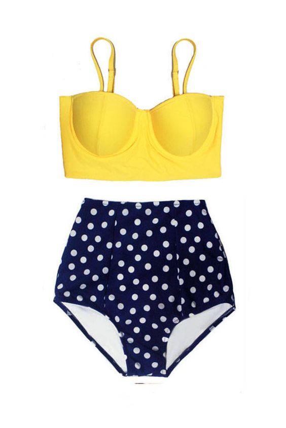 f4c8ce82eabe7 ... set Bathing suit Swim dress Beachwear S M L XL. 🔍. Swimsuit Bikini Top  Midkini Yellow High waisted Bottom Shorts Navy Blue Polka dot White