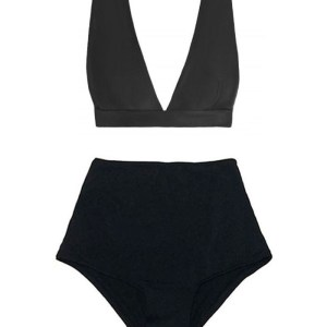 48ba9a2bbeffe ... Neck Tri Triangle Bra Top and Black High waist waisted rise Pin up  Slimming Shorts Bottom Handmade swimsuit bikini set sets two piece bathing  suit suits ...