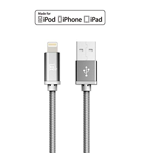 LAX Gadgets 10ft Long Apple MFi Certified iPhone Charger Cord - Durable Braided Lightning Cable for iPhone 6s / 6s Plus / 6 / 6 Plus / 5s / 5c / 5 / iPad Air 2 / Air / Mini 4 / 3 / 2 / Pro (Gray) - VendeTodito