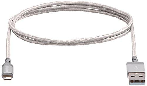 AmazonBasics–Certificado por Apple Nylon Trenzado Cable Lightning a USB A–3pies 0,9metros–Plata, 91,44cm, Plateado - VendeTodito