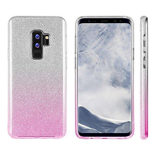 Luxmo Funda Protectora Tipo Glitter para Samsung S9 Plus, Color Silver/Rosa - VendeTodito