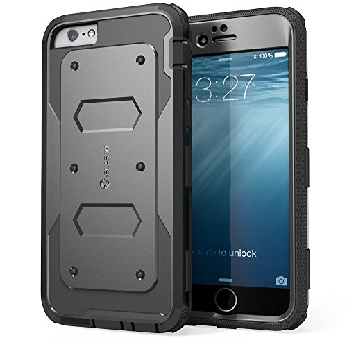 iPhone 6S Case, [Heave Duty] i-Blason Apple iPhone 6 Case 4.7 Inch Armorbox [Dual Layer] Hybrid Full-body Protective Case with Front Cover and Built-in Screen Protector / Impact Resistant Bumpers (Black) - VendeTodito