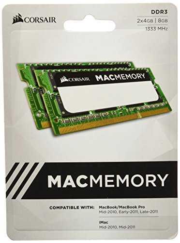 Corsair Apple Certified 8GB (2x4GB) DDR3 1333 MHz (PC3 10666) Laptop Memory (CMSA8GX3M2A1333C9)