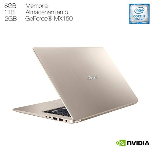 "ASUS Laptop Vivobook Pro 15.6"", Intel Core i7-8550u 1.8GHz 8a gen, 8 GB RAM, Disco Duro 1TB, Tarjeta Gráfica GeForce MX150, Windows 10, color Dorado (Modelo S510UN-BQ050T) - VendeTodito"
