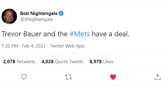 Bob Nightengale Tweet