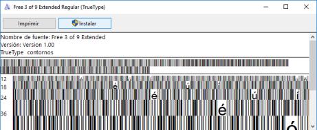 Instalar Fuentes Códigos de barras
