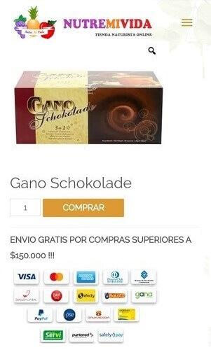 Gano Schokolade - chocolate comprar en Colombia