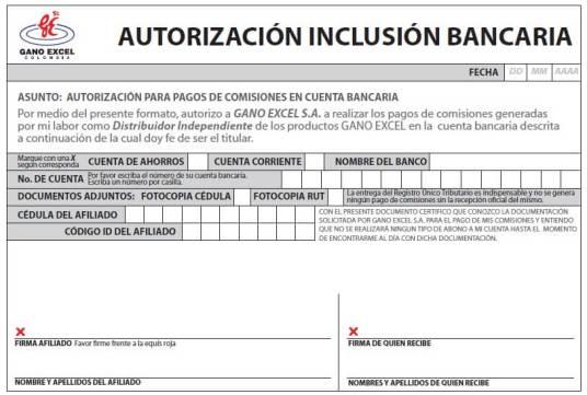 Autorización inclusión bancaria Gano Excel