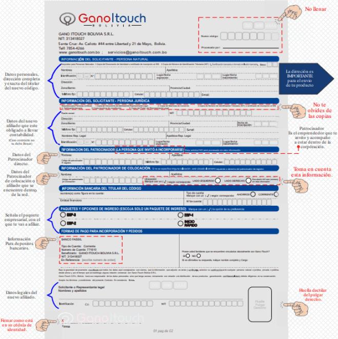 Instructivo formulario afiliación Gano iTouch Bolivia