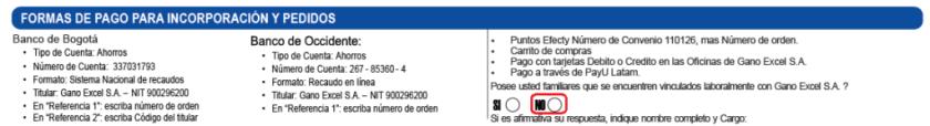 Tiene familiares en Gano Excel - Formas de pago nueva vinculación de Gano Excel Colombia