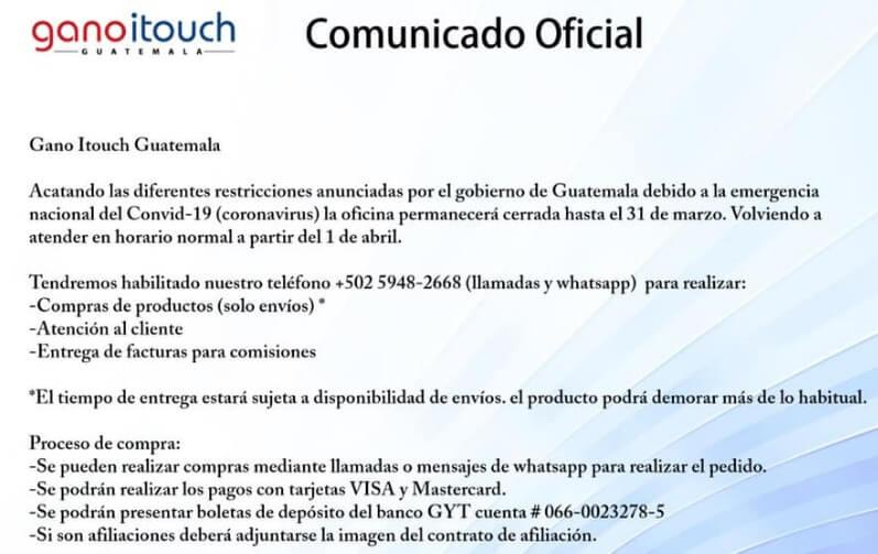 Contingencia Gano iTouch Guatemala