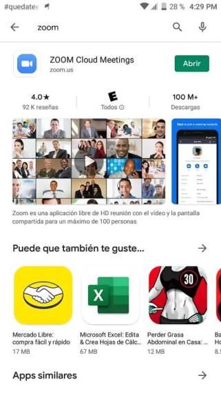 Descarga de la versión móvil de Zoom