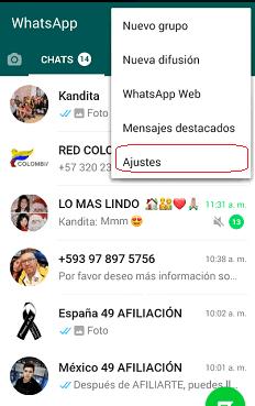 Menú Ajustes whatsapp Personal