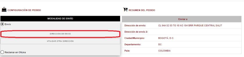 Dirección de envío afiliado