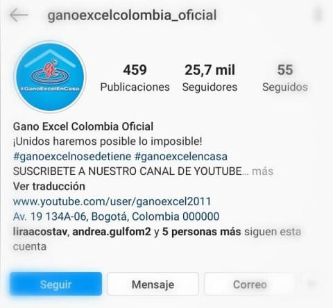 Instragram Gano Excel Colombia
