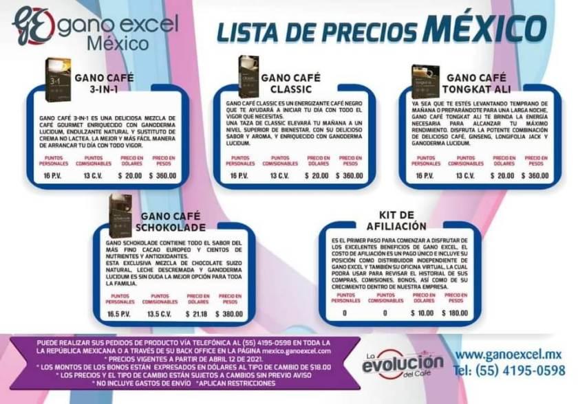 Precios Gano Excel Mexico