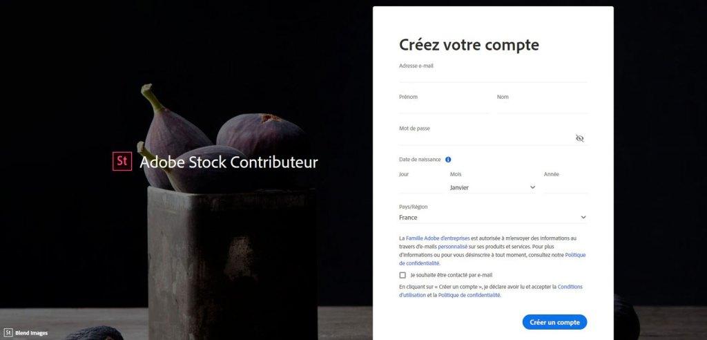Ouverture de compte chez Adobe | Vendre ses photos en ligne
