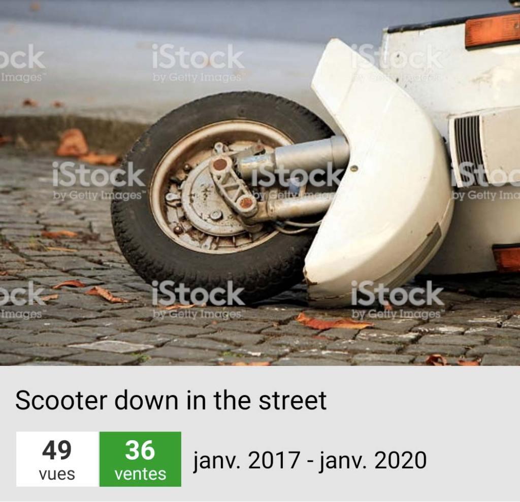 Ventes de Scooter tombé dans la rue sur Istock | Vendre ses Photos en Ligne