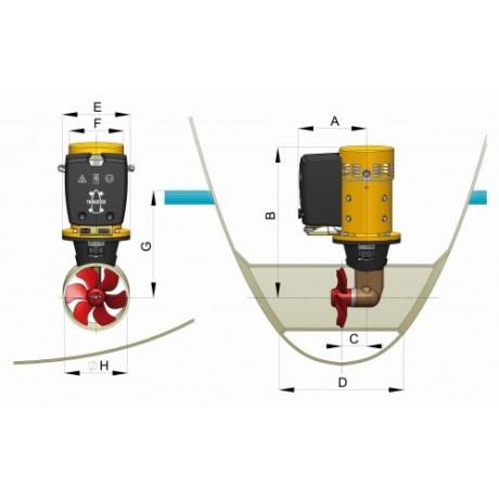 Vetus keulapotkuri 12V 25 kgf kokokaavio