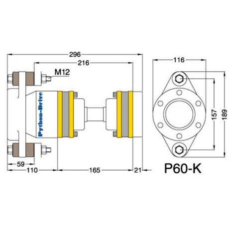P60-K_mitat P60-K - Python-Drive -nivelyksikkö