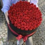 Rose Red Round Box Flower, Venera Flowers, online flower delivery dubai