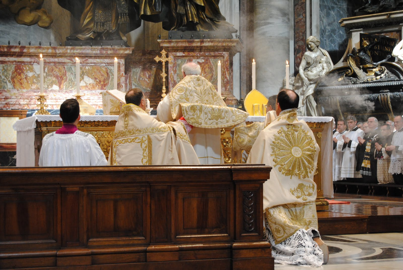 First Pontifical High Mass Celebrated At Altar Of Chair At