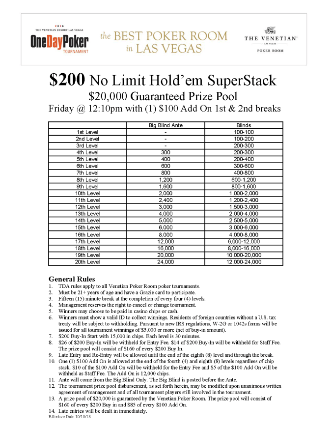 $200 NL SuperStack $20K GTD