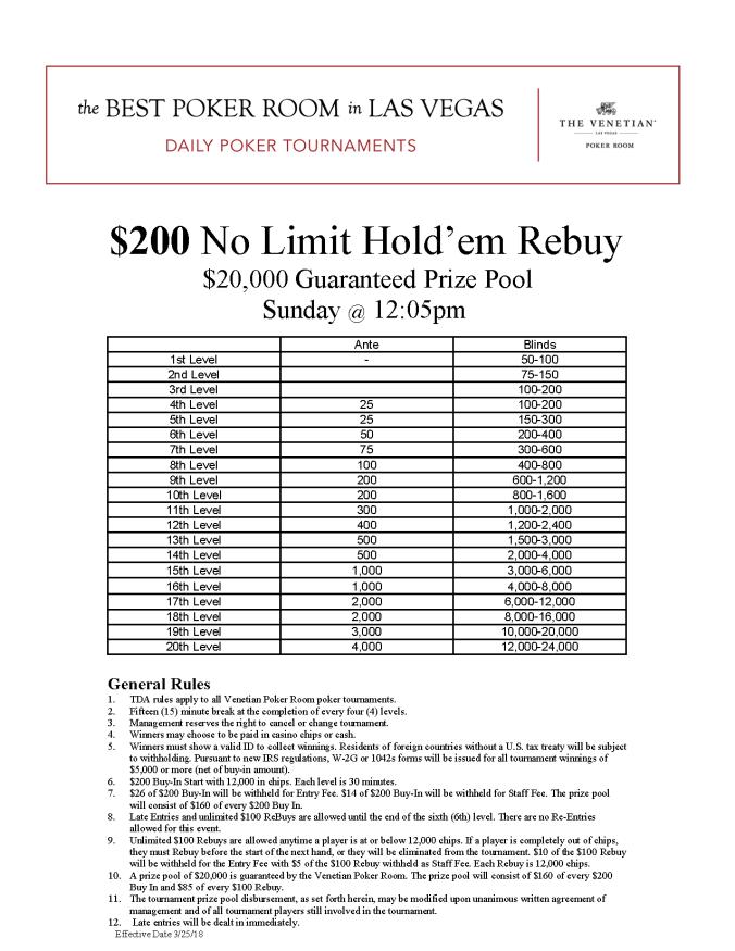 Sun $200 NL Rebuy $20K GTD @ 12pm Online