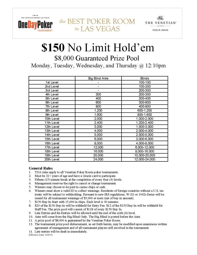 MTWTh 12pm $150 NL $8K GTD