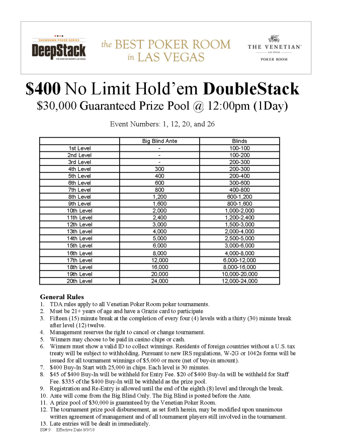 $400 NL DoubleStack 12pm online