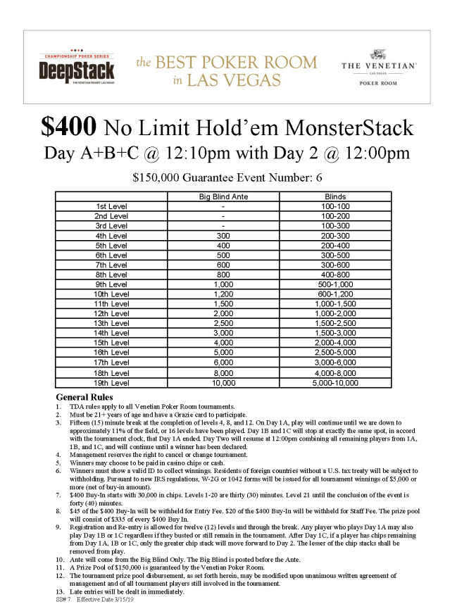 DCPS $400 NL MonsterStack $150K