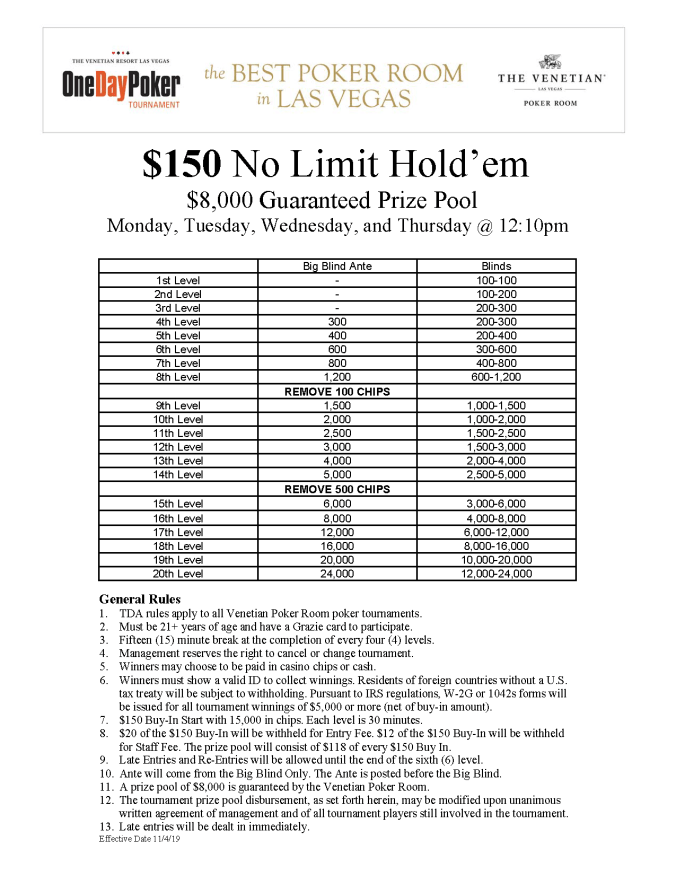 $150 MTWTh 12pm No Limit Hold'em