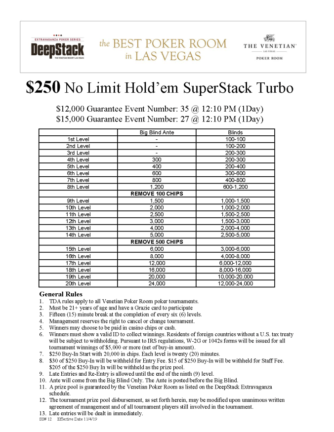 NYE $250 NL SuperStack Turbo