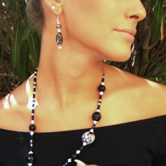 Collana Lumiere lunga Black Silver