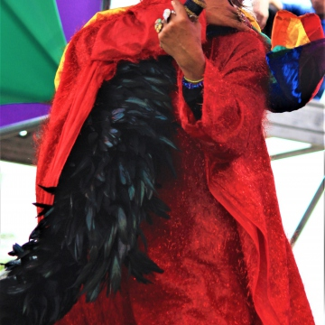 """An artist impersonating Celia Cruz lead the crowd in a rendition of """"I will survive"""""""