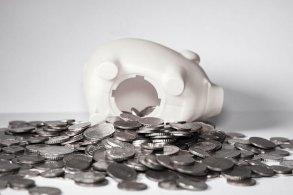 豚さん貯金箱と大量の小銭