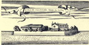 The island of San Lazzaro, Venice, engraving by Coronelli, 1696