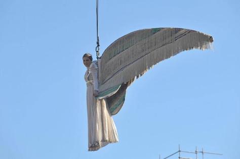 Venezia, 15/02/2009.Piazza San Marco,secondo giorno di carnevale:il Volo dell'Angelo (Margherita Missoni). ©Andrea Pattaro/Vision