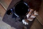 elderberry syrup ginger cloves wooden cutting board weck jar canning jar