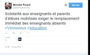 Michèle Picard sur Twitter    Solidarité aux enseignants et parents d'élèves mobilisés exiger le remplacement immédiat des enseignants absents  Vénissieux  education