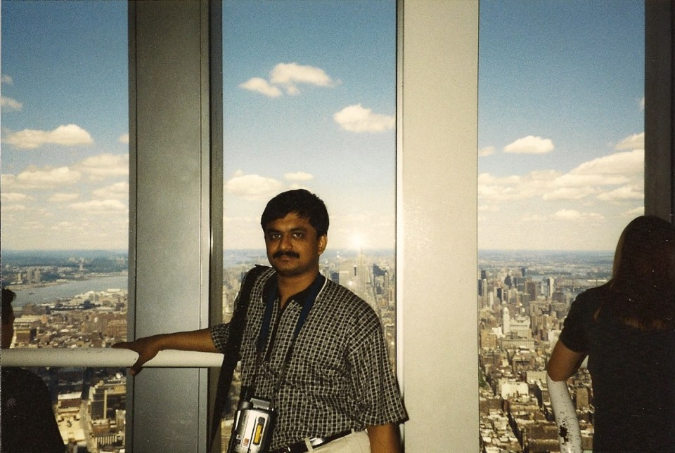 In 1999 in New York on top of the World Trade Center (Twin Towers) observation deck