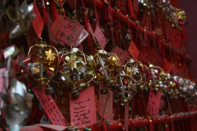 Prayer bells in front of A-Ma Temple